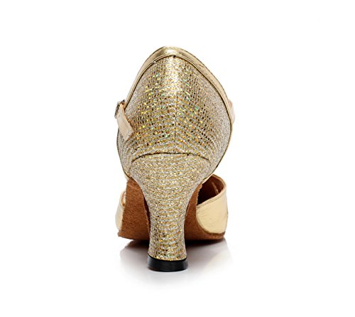 Round UK6 Women's JSHOE Dance High Gold Tea Shoes Toe Tango Heels Sandals Our40 heeled5cm Samba Modern Jazz Salsa Sequins EU39 Latin Shoes HHEq4p