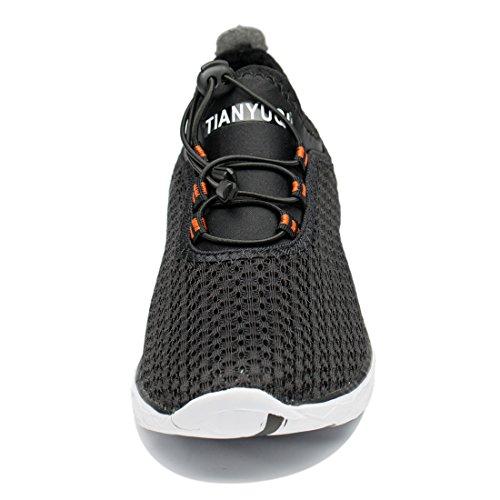 Black Women's Slip TIANYUQI Mesh Water Shoes On 7YWqwC