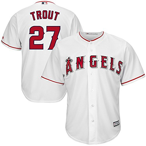 Majestic Mike Trout Los Angeles Angels of Anaheim MLB Youth White Home Cool Base Replica Player Jersey (Large 14-16