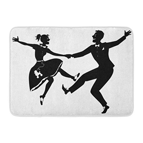 YANAIX Doormats Bath Rugs Outdoor/Indoor Door Mat Black Silhouette of Couple Dressed in 1950S Dancing Rock and Roll No White Will Look The Same on Any Bathroom Decor Rug 16