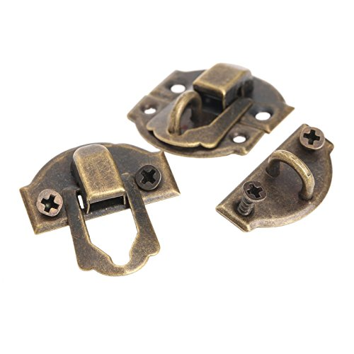 Dophee 10pcs Antique Brass Decorative Hasp Jewelry Wooden Box Hasp Latch Lock With ()