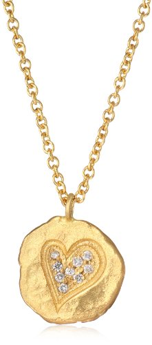 "Sara Weinstock ""Gold Nugget"" Gold Nugget with Heart Necklace"