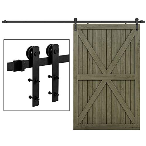 (EaseLife 10 FT Heavy Duty Sliding Barn Door Hardware Track Kit-Ultra Hard Sturdy | Sliding Smooth Quiet | Easy Install | Fit 54