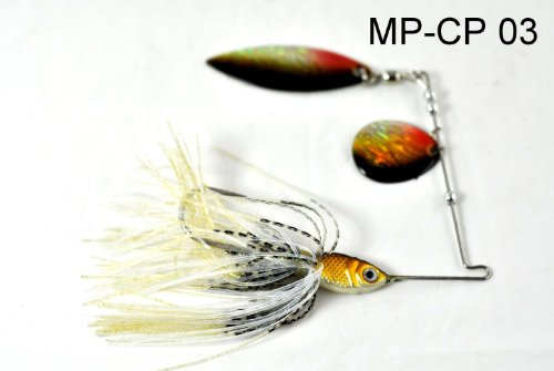 Akuna Custom Hand Painted Holographic Fishing Lures with Willow/Colorado Blades (Two of One Color), 1/2-Ounce, CP 03