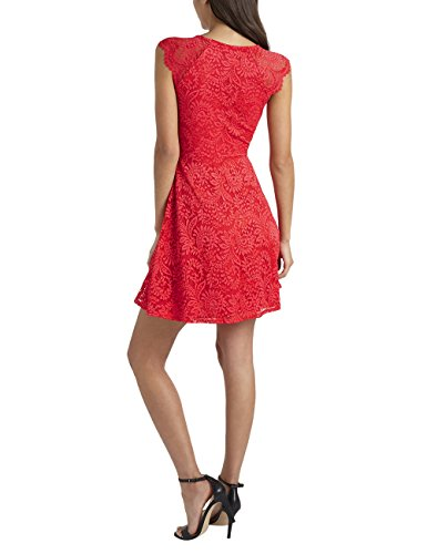 Lipsy Mujer Vestido Evasé De Encaje Rojo
