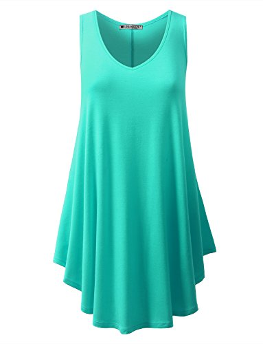 Mint Long (URBANCLEO Womens V-Neck Sleeveless Tunic Top T-Shirt Dress Mint Large)