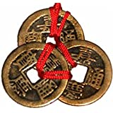 Femitu Chinese Red Enless Knot Feng Shui Coins to Attract Wealth and Health - 3 sets of 3