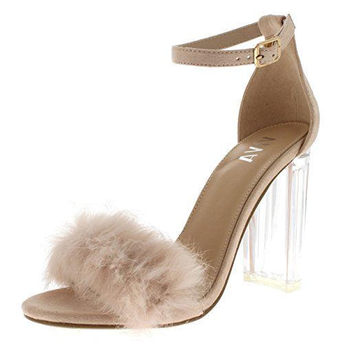 Viva Womens Fluffy Glass Block Heel Party Cut Out Fashion High Heels Pumps Nude wVgrcNAnM