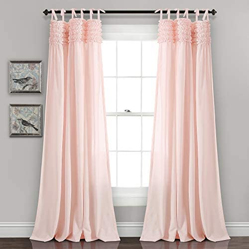 Lush Decor, Blush Lydia Ruffle Window Curtain Panel Pair, 95 x 40 , 95 L