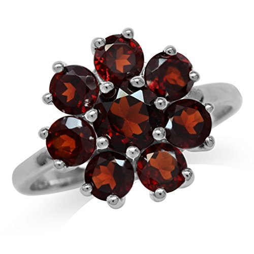 3.04ct. Natural Garnet White Gold Plated 925 Sterling Silver Flower Cluster Ring Size 8