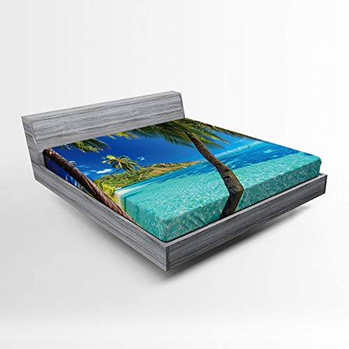 - Ambesonne Ocean Fitted Sheet, Image of a Tropical Island with The Palm Trees and Clear Sea Beach Theme Print, Soft Decorative Fabric Bedding All-Round Elastic Pocket, Queen Size, Turquoise Blue