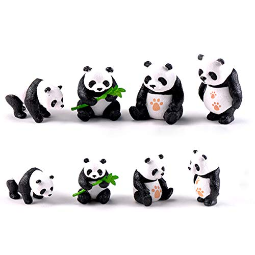 CiCy 8 Pcs Cute Panda Toys Figurines Playset, Cake Toppers, Cake Decoration