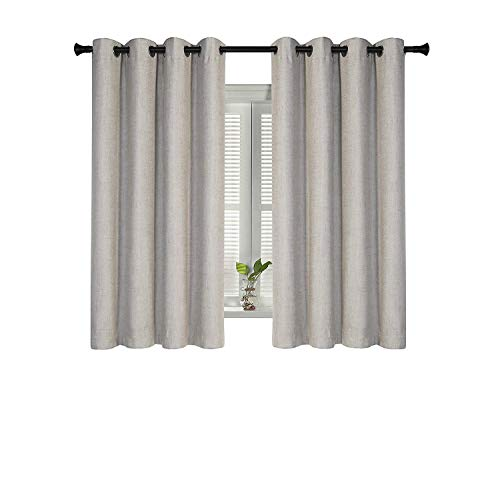 SUO AI TEXTILE Blackout Curtains Thick Thermal Insulated Grommet Window Curtains Faux Linen Three-Layer Grommet Draperies for Living Room Bedroom,52 by 63 Inches,Beige,2 Panels
