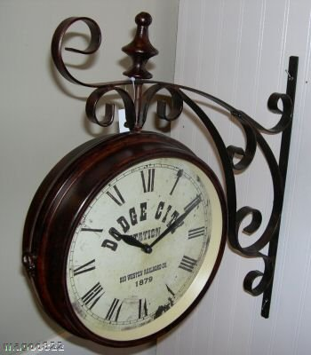 dodge city clock double sided antique replica wall clock