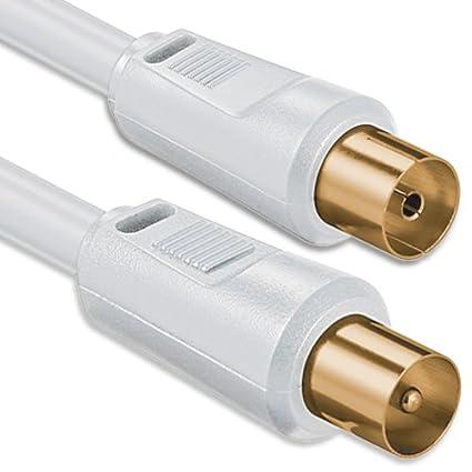 1aTTack - Cable coaxial para antena (conector coaxial F a conector coaxial F, doble