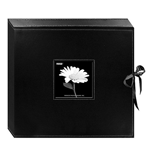 (Pioneer 12 Inch by 12 Inch D-Ring Sewn Leatherette Scrapbook Box, Black)