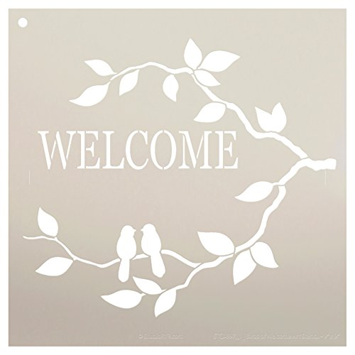 Stencil Leaf - Welcome Stencil with Birds by StudioR12 | Love Birds and Branches Word Art | Reusable Template | For Painting Wood Signs | Front Porch or Patio | Use for Crafting, DIY Home Decor | Select Size
