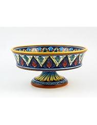 Hand Painted Italian Ceramic 11 8 Inch Footed Fruit Bowl Geometrico 20E Handmade In Deruta