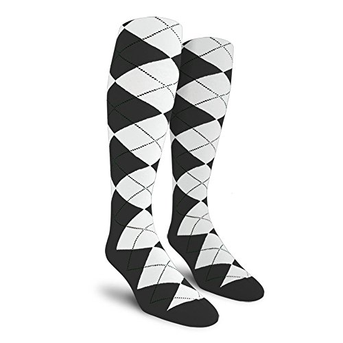 Argyle Golf Socks: Over-the-Calf - Charcoal/White - Mens