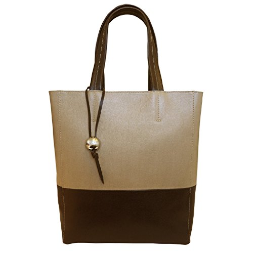 Vannini italiano in pelle 2 Duo colore tote, borsa shopper - marrone