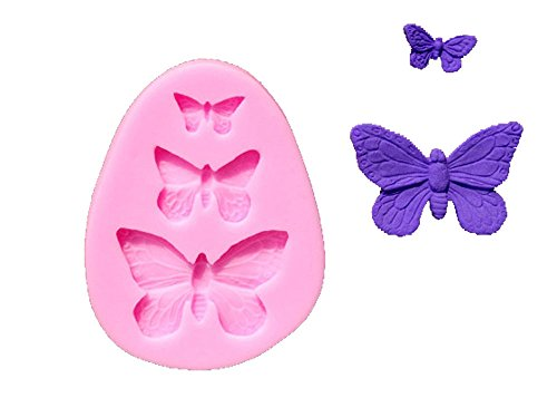 Longzang F319 Butterfly Fondant Silicone Sugar Mold for Cake Decorating, Mini, Pink