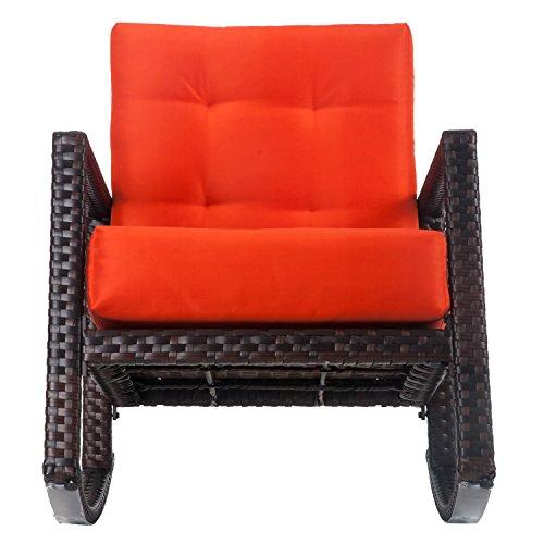 Merax Cushioned Rattan Rocker Armchair Outdoor Patio