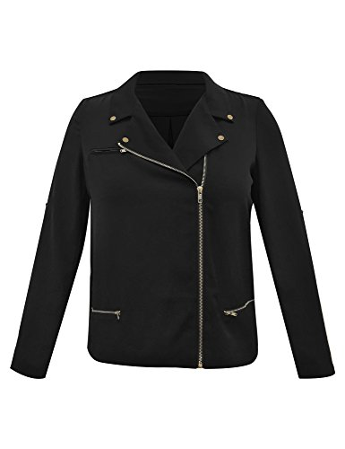 LookbookStore Women's Plus Size Black Casual Zipper Asymmetric Blazer Jacket 2X