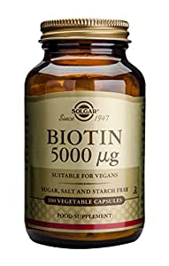 Solgar - Biotin 5000 mcg Vegetable Capsules  100 Count, Supports Healthy Hair, Skin & Strong Nails