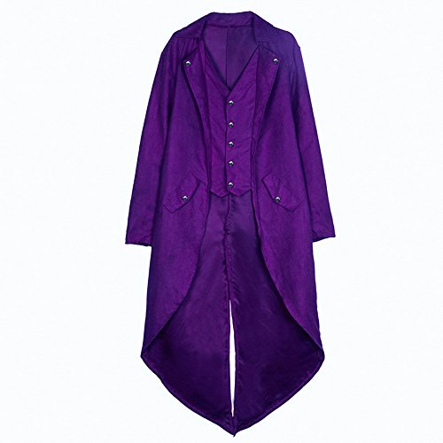 Violet Homme Militaire Haut Jacket Steampunk Soirée Gothique Veste Party Cosplay Vintage Long Manteau Tuxedo Uniforme Vertvie Blazer Costume fTdqfxU