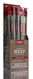 CHOMPS Original Grass-Fed Beef Snack Sticks, Whole30, 1.15 Ounce (Pack of 24)