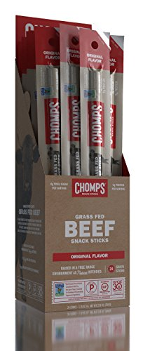 Chomps Grass Fed Beef Snack Sticks - Original Flavor 1oz, 24 per container