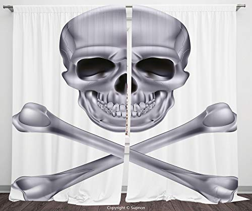 Rod Pocket Curtain Panel Polyester Translucent Curtains for Bedroom Living Room Dorm Kitchen Cafe/2 Curtain Panels/55 x 45 Inch/Silver,Vivid Skull and Crossbones Dangerous Scary Dead Skeleton Evil Fac -