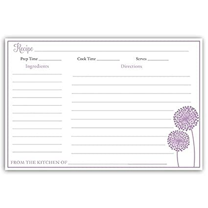 recipe cards double sided 4 x 6 bridal shower purple dandelions