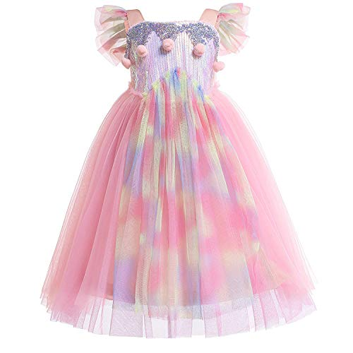 Sylfairy Tutu Dress for Girls, Toddler Kids Reversible Sequin Dresses Unicorn Costume Birthday Party Wedding Princess Outfits (Colorful C,120#)