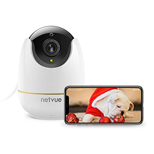 WiFi Baby Monitor, 1080P Wireless Security Camera 2 Way Audio and Night Vision, Motion Tracker, Compatible with Alexa Echo Show, Pet Camera with Cloud Storage for Baby/Dog/Cat (White)