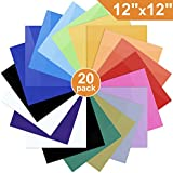"Heat Transfer Vinyl for T-Shirts, 20 Pack - 12""x 12"" Sheets - 18 Assorted Colors, Iron On HTV for Cricut and Silhouette Cameo"