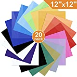 Heat Transfer Vinyl for T-Shirts, 20 Pack - 12'x 12' Sheets - 18 Assorted Colors, Iron On HTV for Cricut and Silhouette Cameo