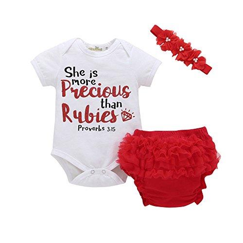 (3Pcs Toddler Boys Girls Layette Sets Letter Print Short Sleeve Romper Tops+Print Short Pants+Bowknot Headbands)