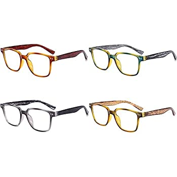 8dcb528756cc 4 Pack AMILLET Wood Grain Vintage Reading Glasses Spring Hinges Readers for  Men and Women +3.00 Strength Different Colours