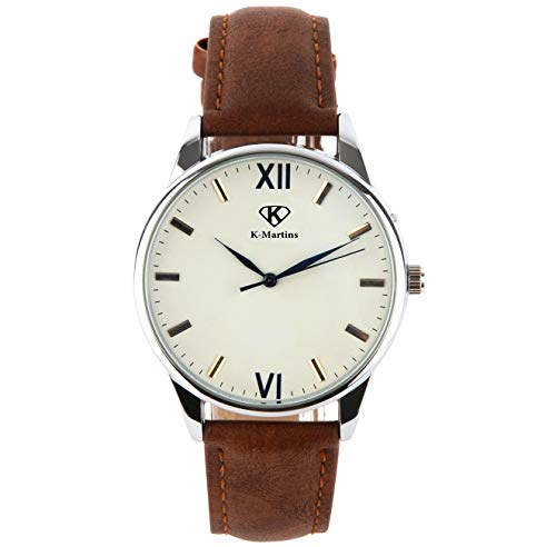 - K-Martins Mens Wrist Watch -Quartz Analog Roman Numeral with Classic Brown Leather - Waterproof 10 Years Batteries - Fashion Casual Unique Dress - Business Office Work School Unisex Watches (1unit)