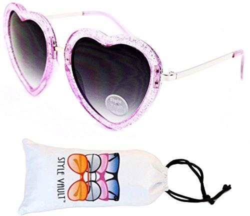 Wm507-vp Style Vault Heart Love Plastic Sunglasses (S2866V Glittered Purple/Silver-Smoked, uv400)