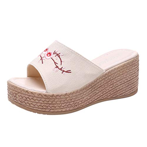 Sandals for Women Fzitimx Summer Ladies Sandals Retro Ethnic Wind Embroidery Flowers Wedge Slippers Beach Shoes Platform Thick Bottom Wedge Sandals ()