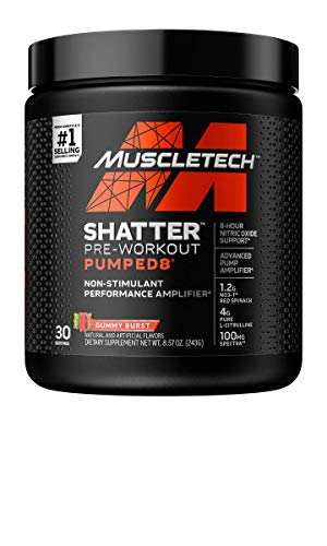 Pre Workout Powder + Nitric Oxide Booster | MuscleTech Shatter Pumped8 | Non-Stimulant Preworkout for Men & Women | 8 Hour Nitric Oxide Support | Better Pumps - More Muscle | Gummy Burst (30 Servings)