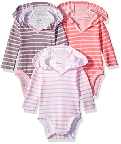 Hanes Ultimate Baby Flexy 3 Pack Hoodie Bodysuits, Pink Stripe, 0-6 -