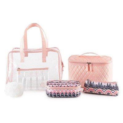 Caboodles Le Sophistique 10pc Bag Set Pink Quilted & Pink Bo Ho Pink Quilted & Pink Bo HO by Caboodles