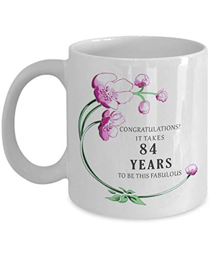 84th Birthday Gift for Women Her Mug 1934 84 th Eighty Four Year Decorations Cake Topper Banner Ideas Coffee Tea -