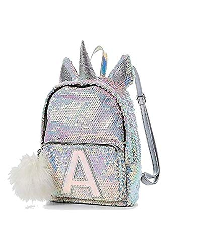 Justice Flip Sequin Mini Backpack Bleach White Unicorn Initial (Letter A) Silver
