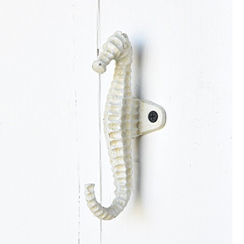 Brass White Seahorse Iron Wall Hook Set 4 | Towel Hanger Beach Gold Bronze by My Swanky Home (Image #1)
