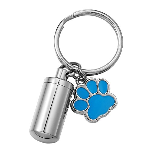 (HOUSWEETY Stainless Steel Cylinder Dog Palm Cremation Urn Necklace/Keychain Waterproof Keepsake Ashes Pendant Memorial Jewelry (Blue))