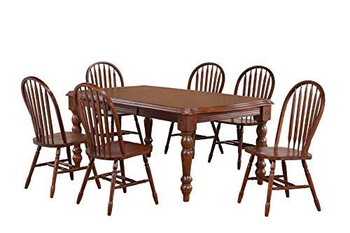 Sunset Trading DLU-SLT4272-820-CT9PC Andrews Dining Table Set Distressed Chestnut ()